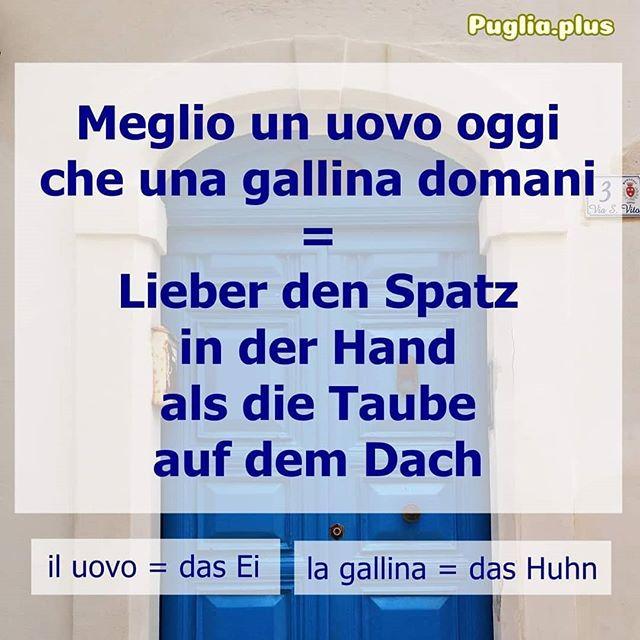 Jeden 23. im Monat stellen wir 2-3 Redewendungen vor: Die zweite Redewendung vom 23.5. ist:  Meglio un uovo oggi che una gallina domani = Lieber den Spatz in der Hand als die Taube auf dem Dach l'uovo = das Ei, la gallina = das Huhn, die Henne  Wie wir auf diese Redewendungen kommen, wie man die geflügelten Worte und Sprichwörter nutzt das kann man hier nachlesen https://www.puglia.plus/reisetipps-apulien/italienische-redewendungen-verstehen-lernen/  #italienischeredewendungen #2bis3am23 #italienischlernen #wortschatzverbessern #wortschatzerweitern #italienischevokabellernen #italienischephrasen #italienischefloskeln #parloitaliano #italienischdeutsch