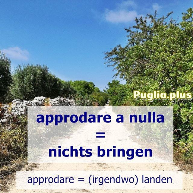 Wir starten eine neue Serie und stellen monatlich jeden 23. 2-3 Redewendungen und Pharsen vor. approdare a nulla = nichts bringen, nirgendwo hinführen approdare = (irgendwo) landen  Italienisch lernen und Wortschatz verbessern, Stück für Stück. 2 bis 3 am 23. Mehr auf: www.puglia.plus  #italienischeredewendungen #2bis3am23 #italienischlernen #wortschatzverbessern #wortschatzerweitern #wortschatzerweiternläuft  #vokabelnlernen  #vokabelndesmonats #italienischlernenonline