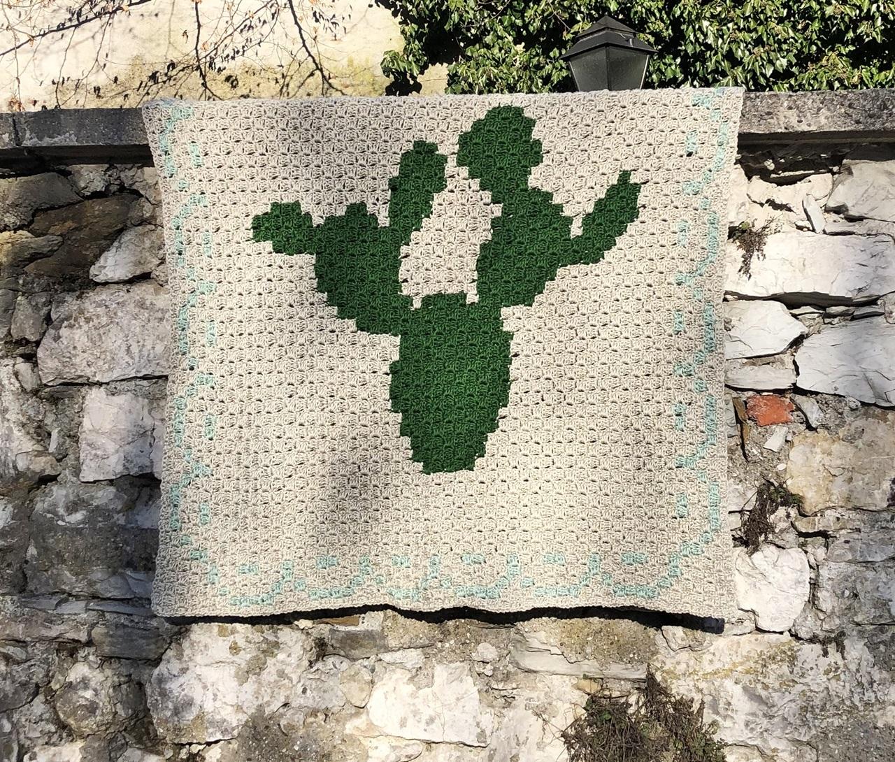 häkeln c2c anleitung Kaktus Decke