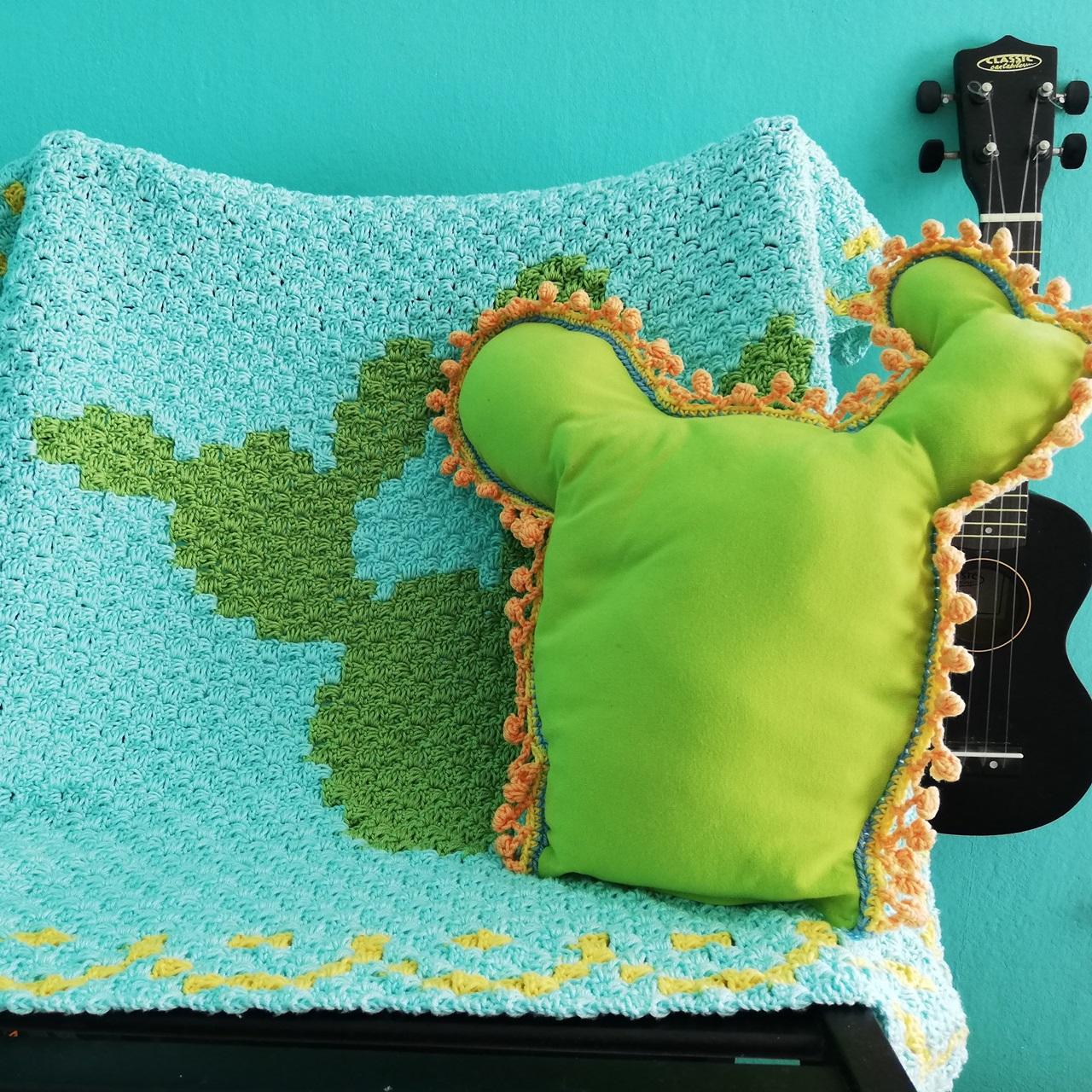 Häkelanleitung Decke mit Kaktus